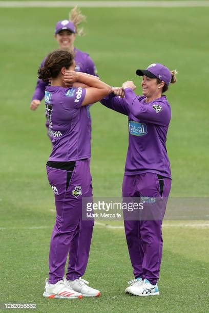Belinda Vakarewa of the Hurricanes celebrates bowling Annie O'Neil of the Strikers during the Women's Big Bash League match between the Adelaide...
