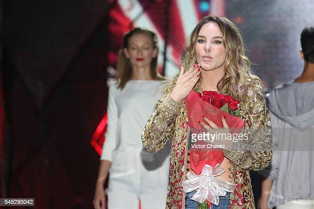 Belinda walks the runway during Belinda's by Capa de Ozono shoes launch at Auditorio BlackBerry on July 6 2016 in Mexico City Mexico