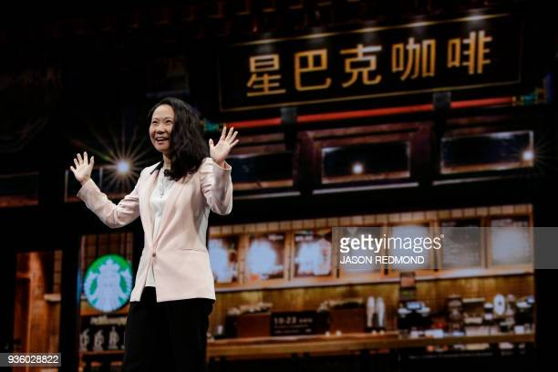 Belinda Wong Chief Executive Officer Starbucks China speaks at the Starbucks Annual Meeting of Shareholders at McCaw Hall in Seattle Washington on...