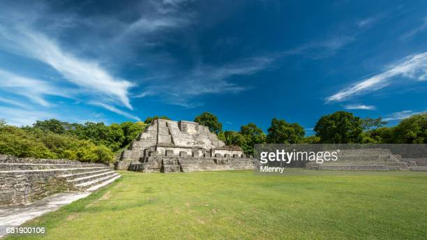 belize altun ha mayan temple complex panorama - old ruin stock pictures, royalty-free photos & images
