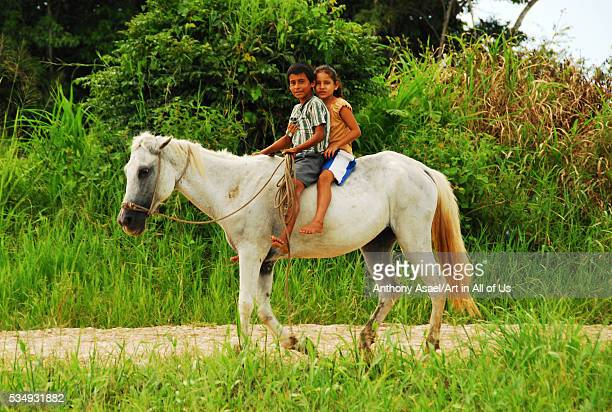 Belize El Progreso One Boy And Girl On White Horse Riding Through The Green Forest