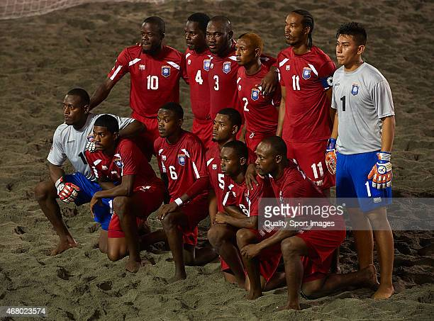 Belize pose for a team photograph before day one of the CONCACAF Beach Soccer Championships El Salvador 2015 match between Belize and El Salvador at...