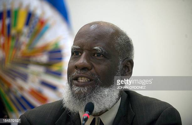 Belize's Foreign Minister Wilfred Elrington speaks during a press conference with the Secretary General of the Organization of American States...