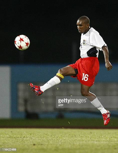 Belize's Symms Vallan controls the ball during their qualification World Cup 2014 football match against Monserrat at Ato Boldon stadium, Couva,...