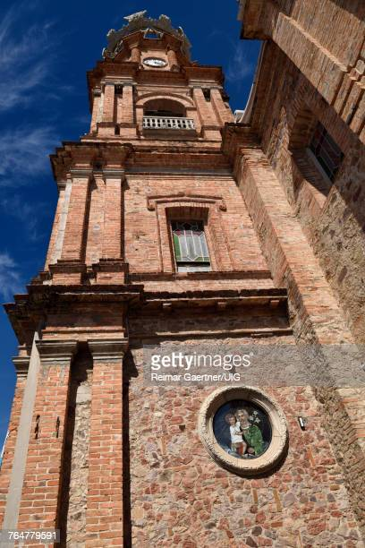 Bell and clock tower of Our Lady of Guadalupe church Puerto Vallarta Mexico