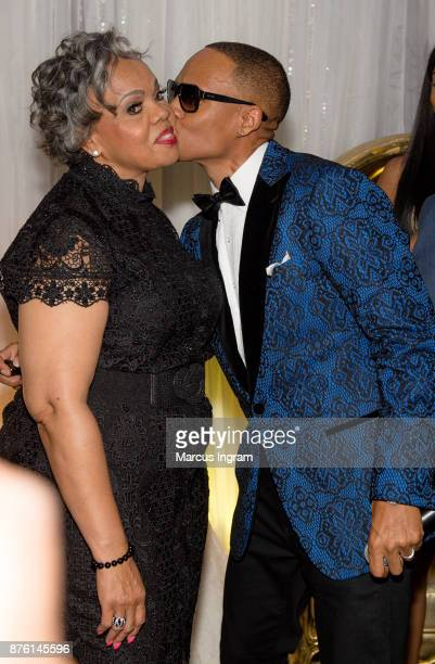 Bell Biv DeVoe/New Edition singer Ronnie DeVoe with mother Flo DeVoe during the 50th birthday celebration for Ronnie DeVoe at Revel on November 18...