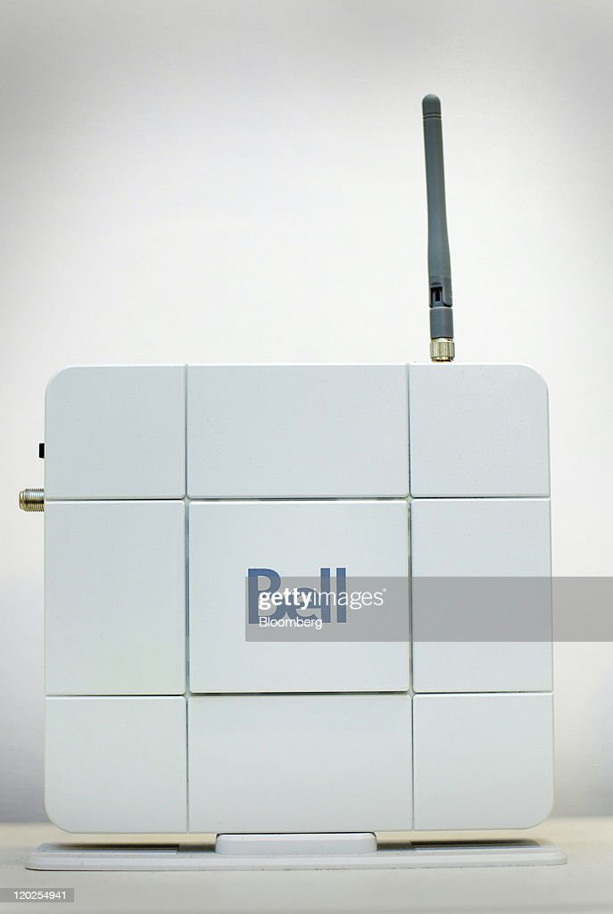A Bell Canada internet modem sits on display at a company