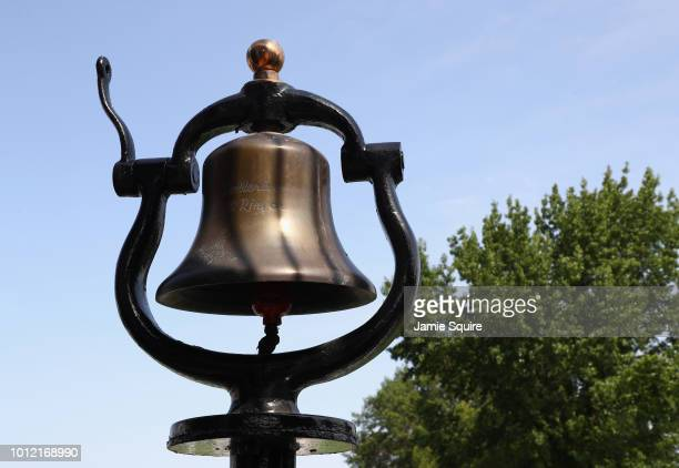 A bell inscribed with 'Bellerive Bell Ringer' is seen during a practice round prior to the 2018 PGA Championship at Bellerive Country Club on August...