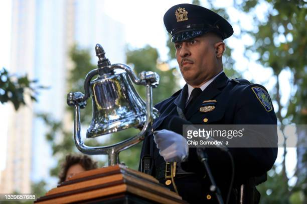 Bell is rung during a moment of silence during the annual 9/11 Commemoration Ceremony at the National 9/11 Memorial and Museum on September 11, 2021...