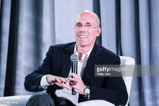 BANFF AB JUNE 9 Bell Media President Randy Lennox moderates the Summit Series discussion with Quibi founder Jeffrey Katzenberg at the 40th...