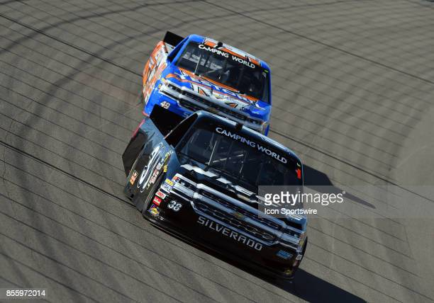 Bell Niece Equipment Chevrolet Silverado and Wendell Chavous Jay Robinson Chevrolet Silverado during practice for the Las Vegas 350 NASCAR Camping...