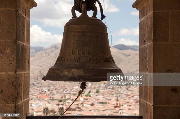 bell of the san cristobal church - bell stock pictures, royalty-free photos & images