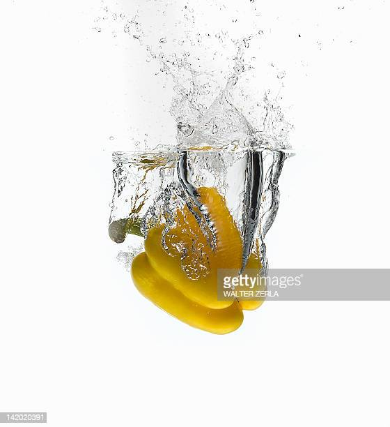 Bell pepper splashing in water