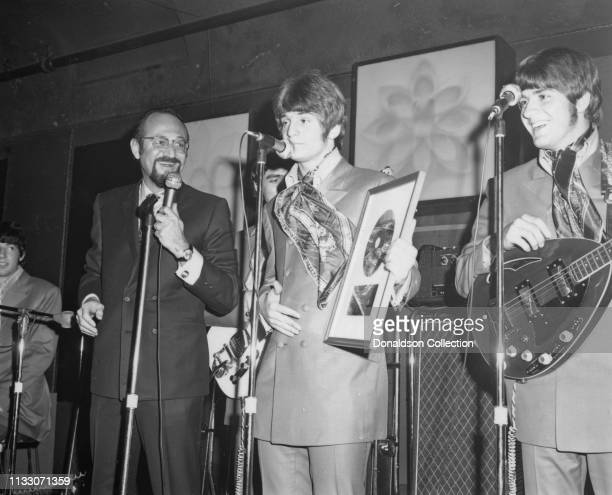 Bell Records President Larry Uttal presents Alex Chilton Box Tops members performs onstage at the Arthur Club at a press party hosted by Bell Records...