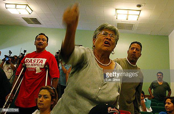 BELL CALIF – SEPT 3 2010 Bell residents Sergio Varga left Carmen Bella and Willie Aguilar stand and denounce members of the Bell City Council...