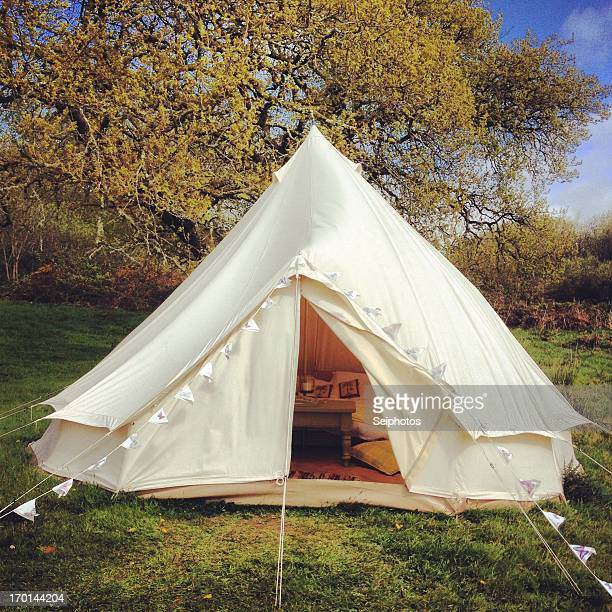 Bell tent with bunting. Glamping in Devon..