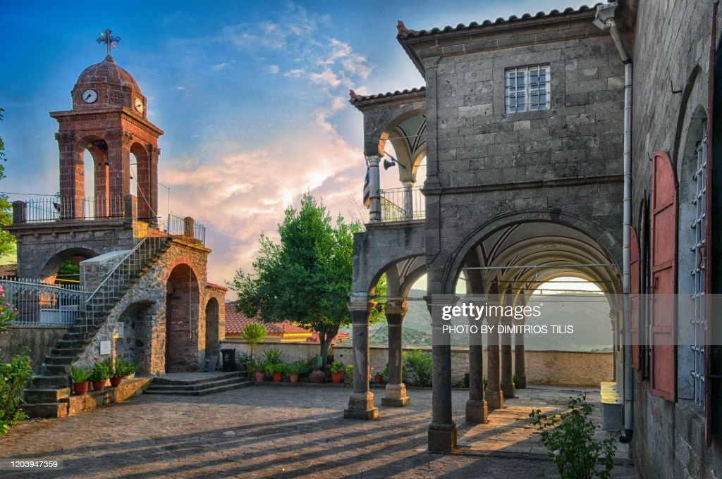 Bell tower and church balcony at Vatousa : Stock Photo