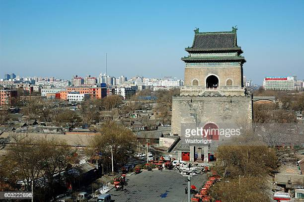 Bell Tower and old town in Beijing,China.