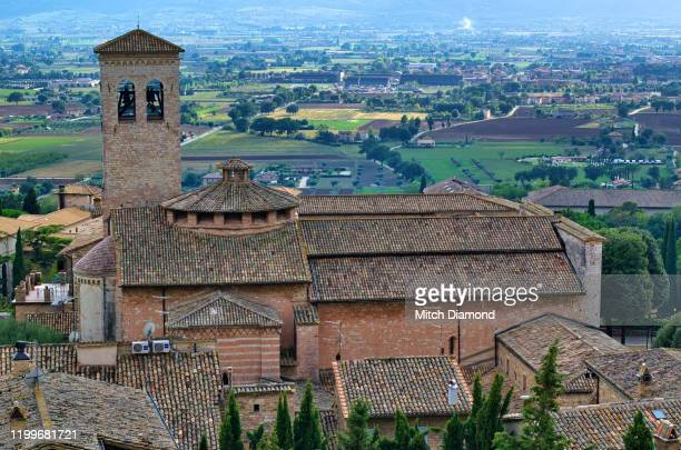 bell tower and umbria landscape in assisi - assis ストックフォトと画像