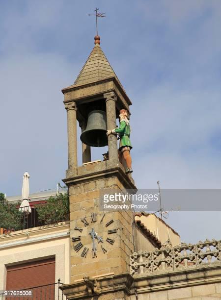 Bell tower Ayuntamiento town hall Abuelo Mayorga figure Plasencia Caceres province Extremadura Spain