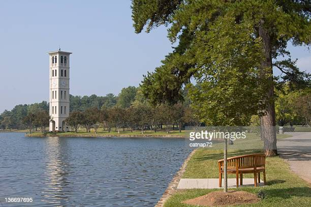 bell tower carillon by scenic lake, furman college, south carolina - greenville south carolina stock pictures, royalty-free photos & images