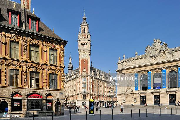 Bell tower of Chamber of Commerce and the Opera de Lille at the Place du Theatre Lille France
