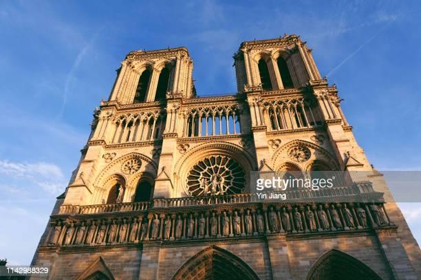 bell tower of notre dame de paris cathedral - notre dame de paris stock pictures, royalty-free photos & images