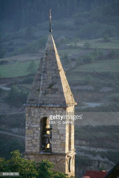 Bell tower of St John the Baptist's church, Beuil, Provence-Alpes-Cote d'Azur, France.