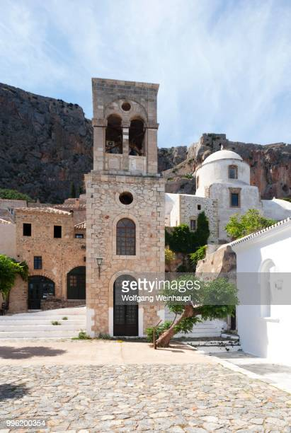 bell tower of the byzantine greek orthodox church of christos elkomenos, church of christ in chains, medieval fortified village, monemvasia, laconia, peloponnese, greece - peloponnese stock photos and pictures