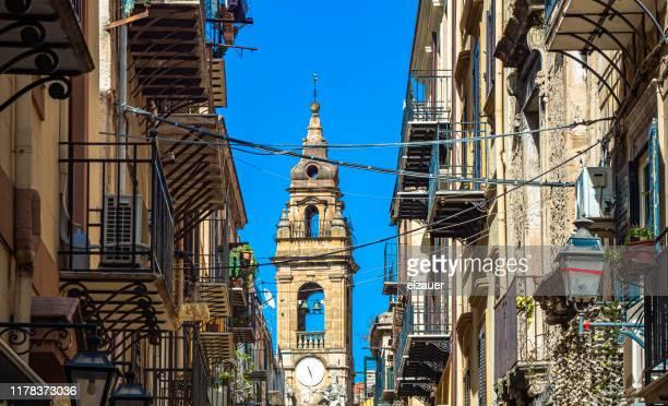 bell tower of the church of st. ignatius - centro storico foto e immagini stock