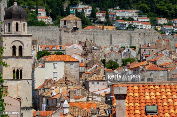bell tower of the dominican monastery in the old town of dubrovnik , croatia - limestone pavement stock pictures, royalty-free photos & images