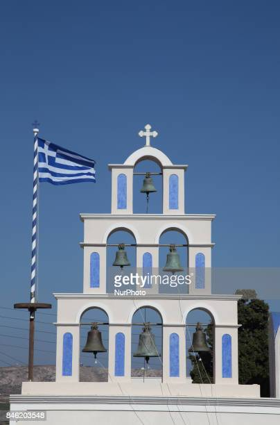 Bell tower of the Saint Epifanios Church in the village of Akotiri on Santorini Island Greece