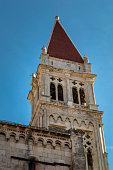 Bell tower of the Saint Lawrence Cathedral in Trogir (tower detail) , Croatia
