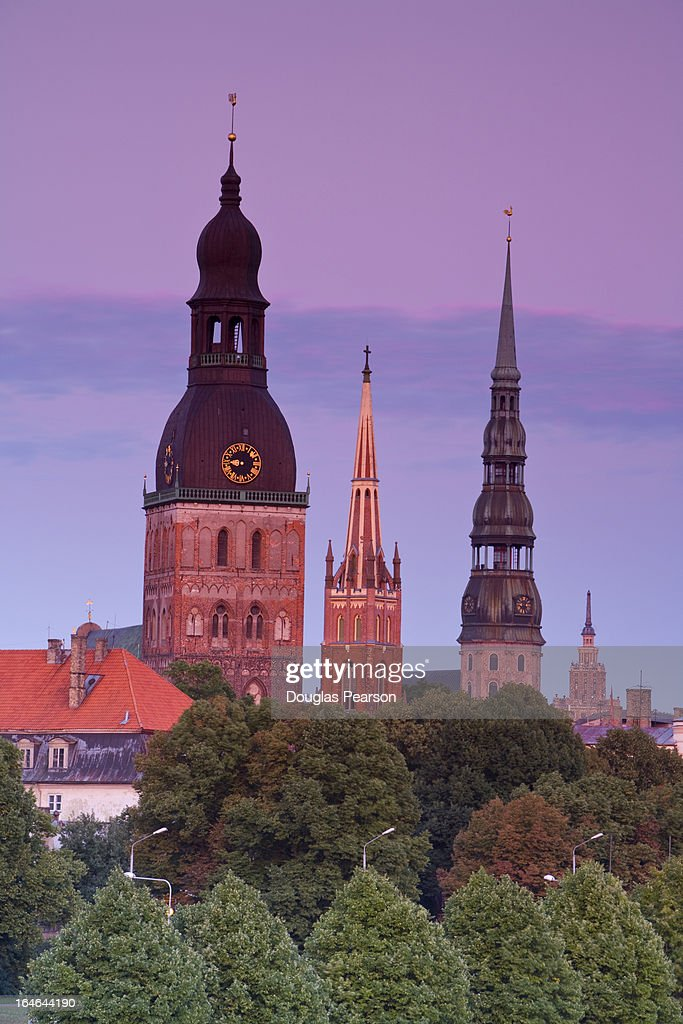 Bell towers and spires in Riga's Old Town : Stock-Foto