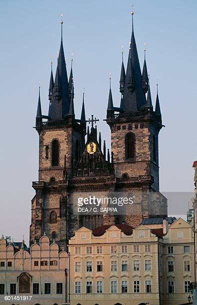 Bell towers of the Church of Our Lady before Tyn 13651511 Old Town square in Prague Czech Republic