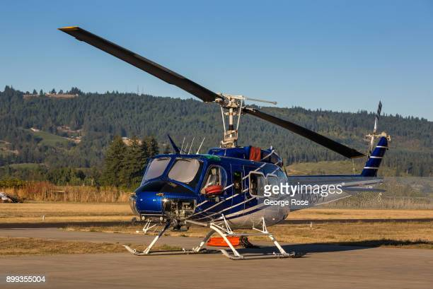 Bell UH1 helicopter is parked on the tarmac at the Chehalem Airpark on September 29 in Newberg Oregon Dundee Carlton McMinnville and Newburg all...