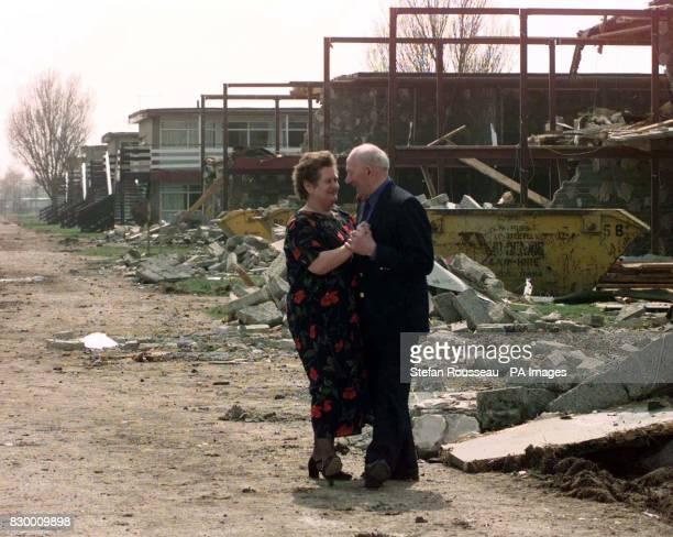 Bella and Ivan Skates dance amongst the rubble of a soon to be demolished Butlins Holiday Camp in Skegness today where they have been coming 4 or 5...