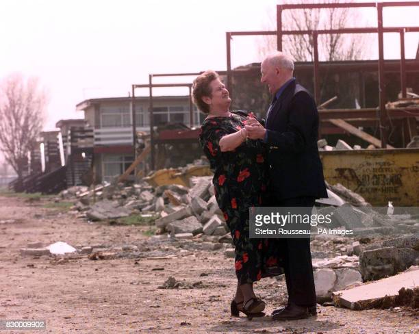 Bella and Ivan Skates dance amongst the rubble of a soon to be demolished Butlins Hoiday Camp in Skegness where they have been coming 4 or 5 times a...