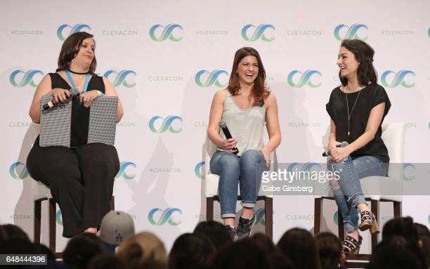 Bella Books Blog managing editor Dana Piccoli and actresses Elise Bauman and Natasha Negovanlis speak at the 'Hollstein Reunion' panel during the...