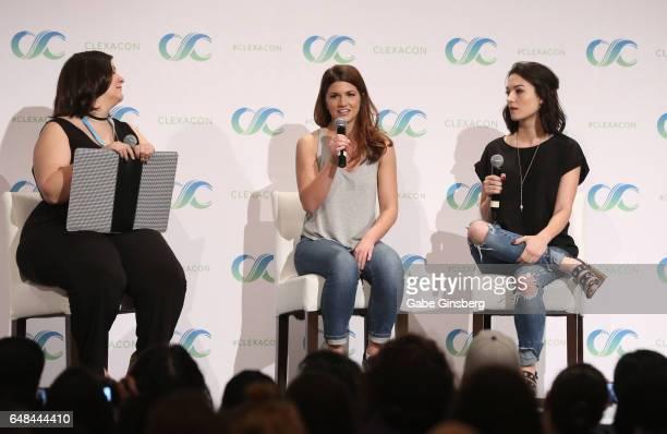 Bella Books Blog managing editor Dana Piccoli and actresses Elise Bauman and Natasha Negovanlis speak at the 'Hollstein Reunion' panel during...