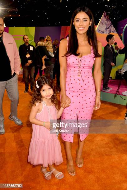 Bella Delgado and Jennifer Acosta attend Nickelodeon's 2019 Kids' Choice Awards at Galen Center on March 23 2019 in Los Angeles California