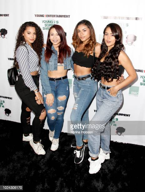 Bella Dose Band attends D J Young 1 aka Nhandi surprise sweet 16 birthday celebration at World on Wheels on August 26 2018 in Los Angeles California
