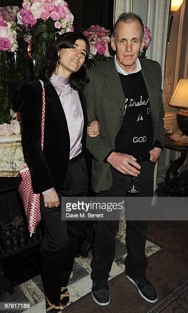 Bella Freud and guest attend the Nancy Mitford 'Wigs on the Green' reissue party held by Catherine Ostler and the Dowager Duchess of Devonshire, in...