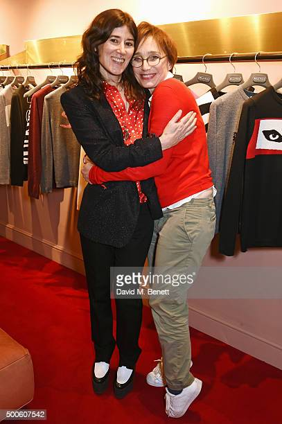 Bella Freud and Kristin Scott Thomas attend the Bella Freud store launch in Marylebone on December 9 2015 in London England