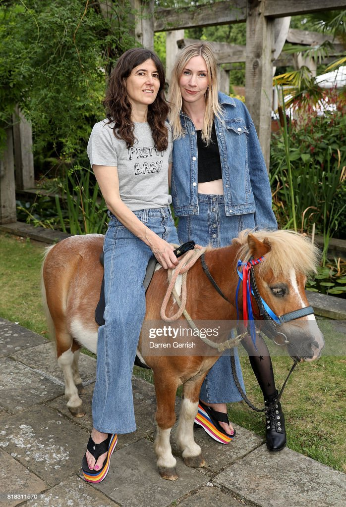 Bella Freud and Mary Peffer attend the J Brand x Bella Freud garden tea party on July 18, 2017 in London, England.