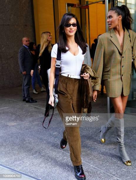 Bella Hadid and Cindy Bruna head to Victoria's Secret Fashion Show rehearsal on November 7 2018 in New York City