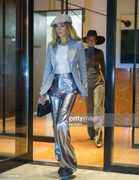 Bella Hadid and Gigi Hadid are seen on September 08, 2019 in New York City.
