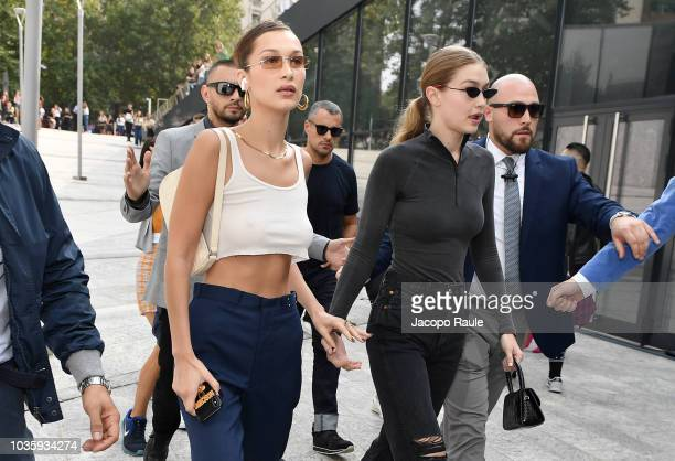 Bella Hadid and Gigi Hadid arrive at the Alberta Ferretti show during Milan Fashion Week Spring/Summer 2019 on September 19 2018 in Milan Italy