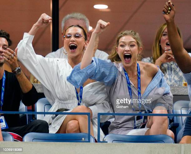 Bella Hadid and Gigi Hadid at 2018 US Open on September 4 2018 in New York City