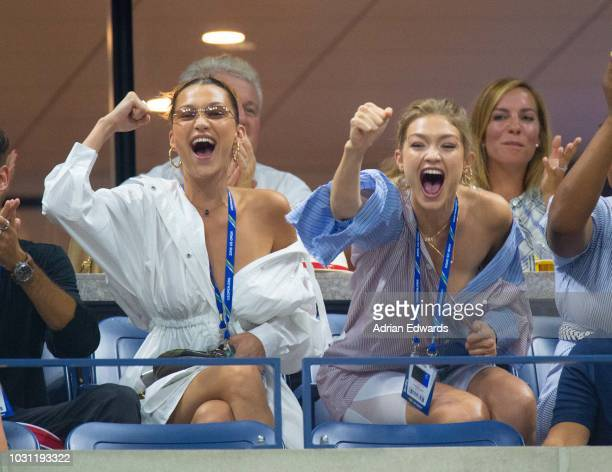 Bella Hadid and Gigi Hadid attend Day 9 of the US Open held at the USTA Tennis Center on September 4, 2018 in New York City.